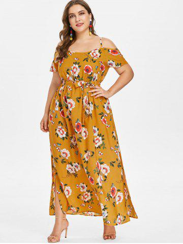 Yellow dresses yellow sundress and long short plus size yellow plus size floral slit belted dress mightylinksfo