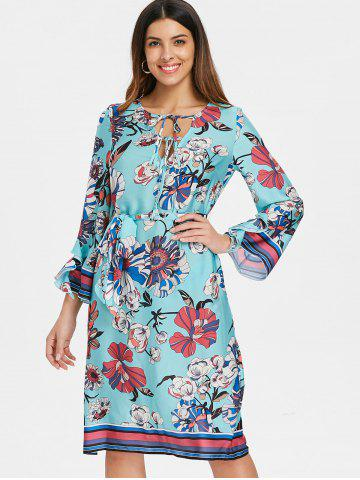 Bohemian V Neck Floral Shift Dress