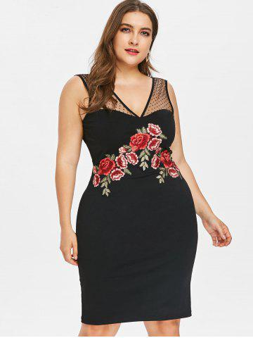 Plus Size Sheer Mesh Embroidery Bodycon Dress