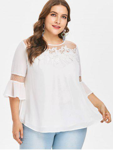 Plus Size Lace Applique Flowy Blouse