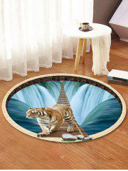 Waterfall Tiger Pattern Anti-skid Round Floor Rug -