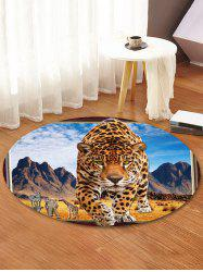 Leopard Steppe Pattern Anti-skid Round Floor Rug -