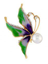 Broche Epingle Papillon Fausse Perle en Strass -