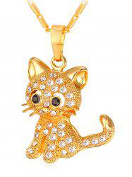 Cute Rhinestone Cat Pendant Chain Necklace -