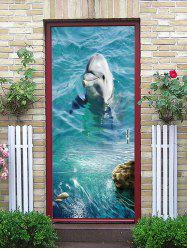 A Playing Dolphin Printed Door Stickers -