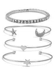 Rhinestone Star Moon Heart Design Bracelets Set -