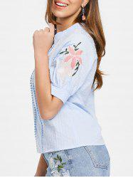 Floral Embroidery Short Sleeve Blouse -