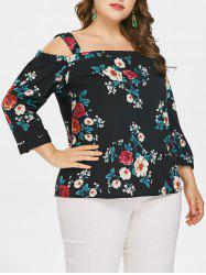Plus Size Cold Shoulder Flower Blouse -