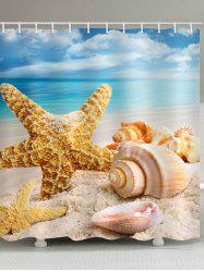 Beach Starfish Conch Print Waterproof Bathroom Shower Curtain -