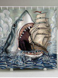 Shark Eat Ship Print Waterproof Bathroom Shower Curtain -