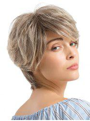 Short Layered Colormix Straight Human Hair Wig -