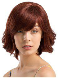 Short Side Bang Slightly Curly Party Human Hair Wig -