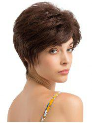 Short Inclined Bang Layer Straight Human Hair Wig -