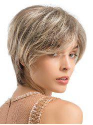 Short Side Bang Colormix Straight Human Hair Wig -