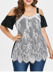 Plus Size Cold Shoulder Lace Overlay Top -