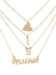 Stylish Heart and Letters Multi Layer Pendant Necklace -