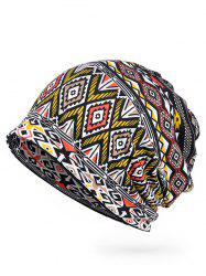 Geometric Pattern Open Top Slouchy Beanie -