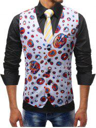 Adjustable Back Buckle Colorful Circle Print Waistcoat -