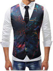 Oil Paint Print Single-breasted Vest -