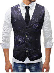 Floral Print Adjustable Back Buckle Vest -