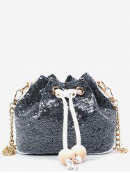Beaded Sequins Metal Chain Bucket Shaped Sling Bag -