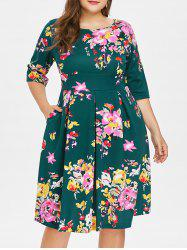 Plus Size Print Knee Length Dress -