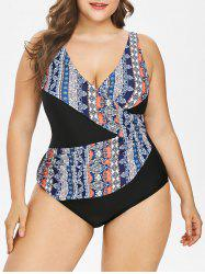 Plus Size Cutout Surplice One Piece Swimsuit -