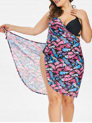 Feathers Print Plus Size Beach Dress -