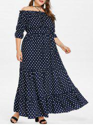 Plus Size Off Shoulder Polka Dot Maxi Dress -