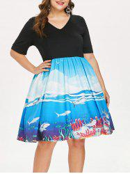 Plus Size Shark Print Tea Length Dress -