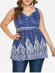 Plus Size Ethnic Print Sleeveless Top -