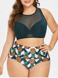 Pineapple Zig Zag Plus Size Tankini Set -