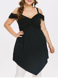 Plus Size Cross Ruched Tunic Top -