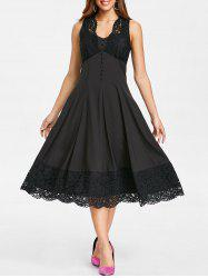 Retro Scalloped Lace Hemline Sleeveless Dress -