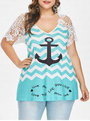 ROSEGAL Plus Size Lace Chevron Anchor T-shirt -