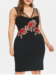 Plus Size Sheer Mesh Embroidery Bodycon Dress -