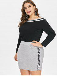 Plus Size Off Shoulder Tee and Skirt -