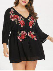 Plus Size Drawstring High Waist Embroidered Dress -