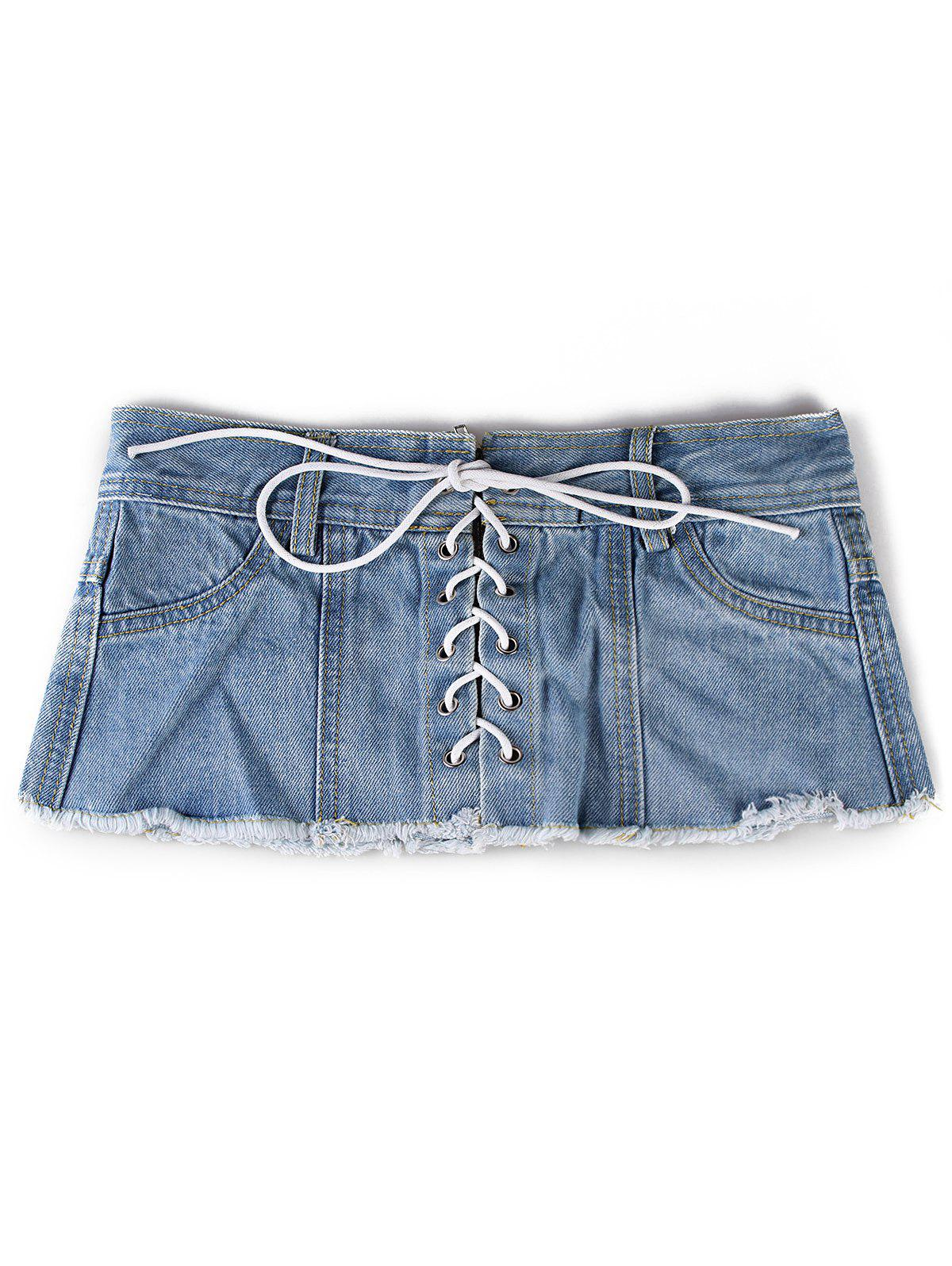 Outfit Stylish Denim Shorts Wide Waist Belt
