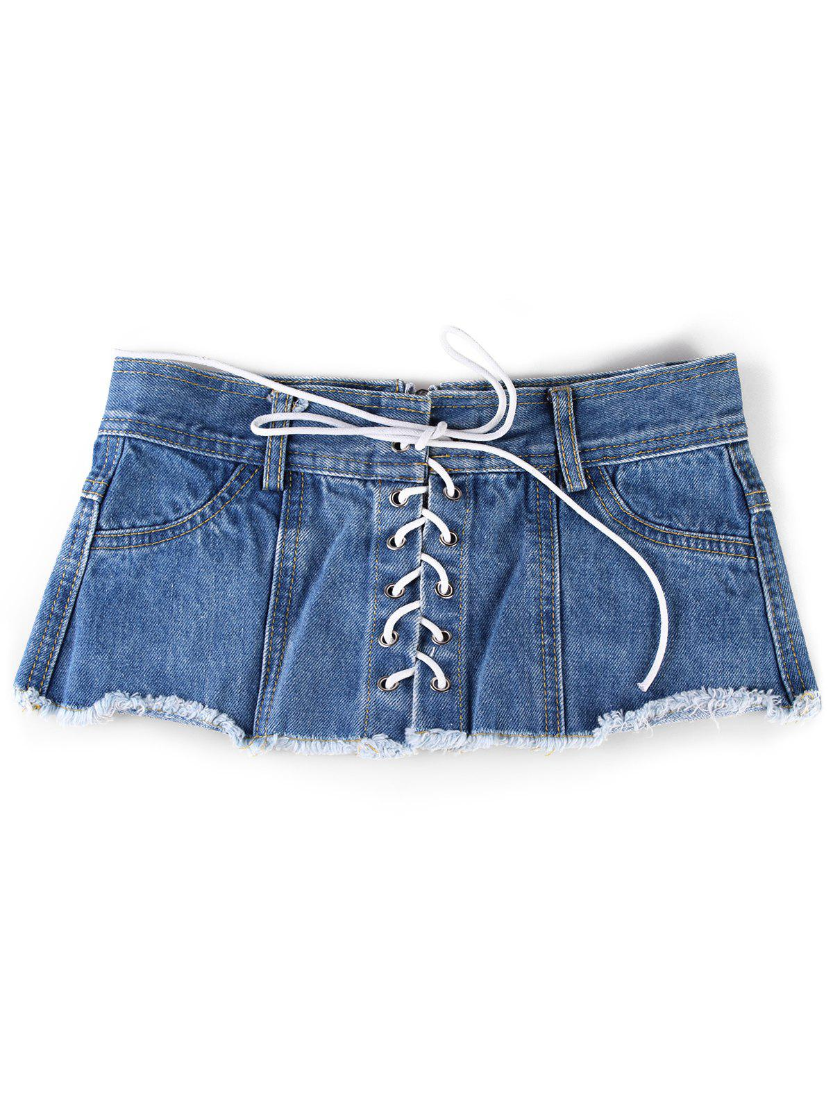 Trendy Stylish Denim Shorts Wide Waist Belt