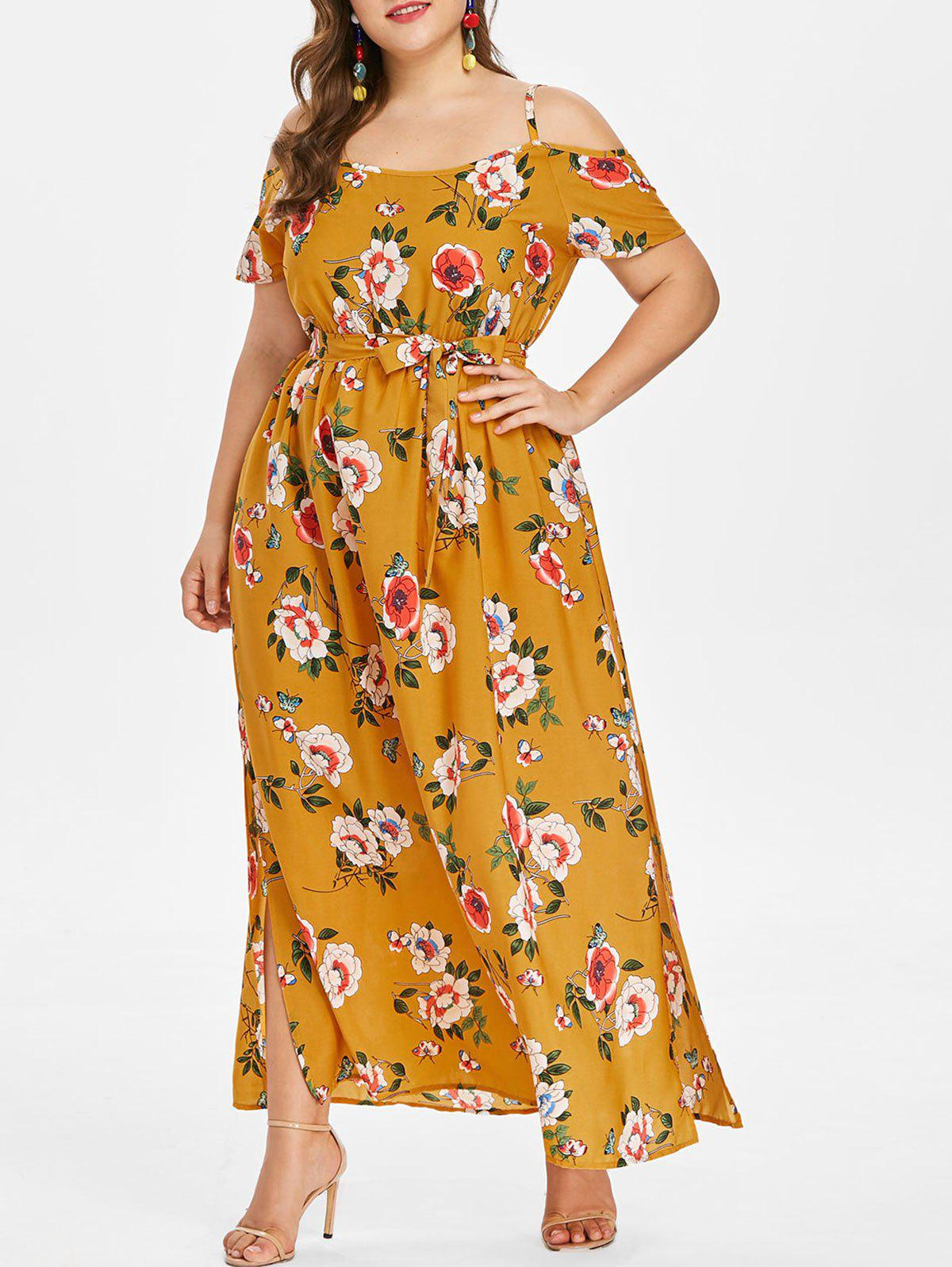 Fashion Plus Size Floral Slit Belted Dress