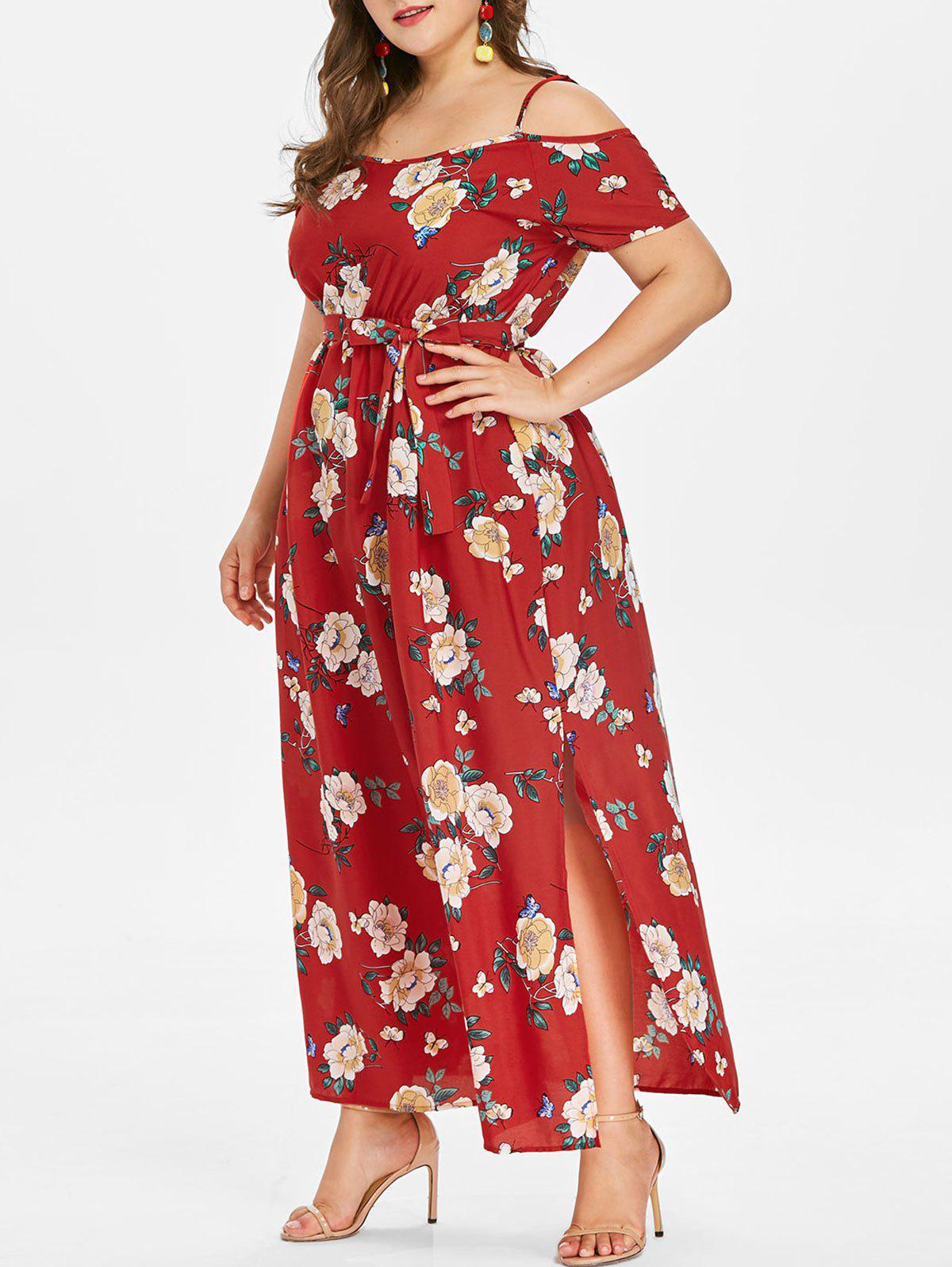 Chic Plus Size Floral Slit Belted Dress