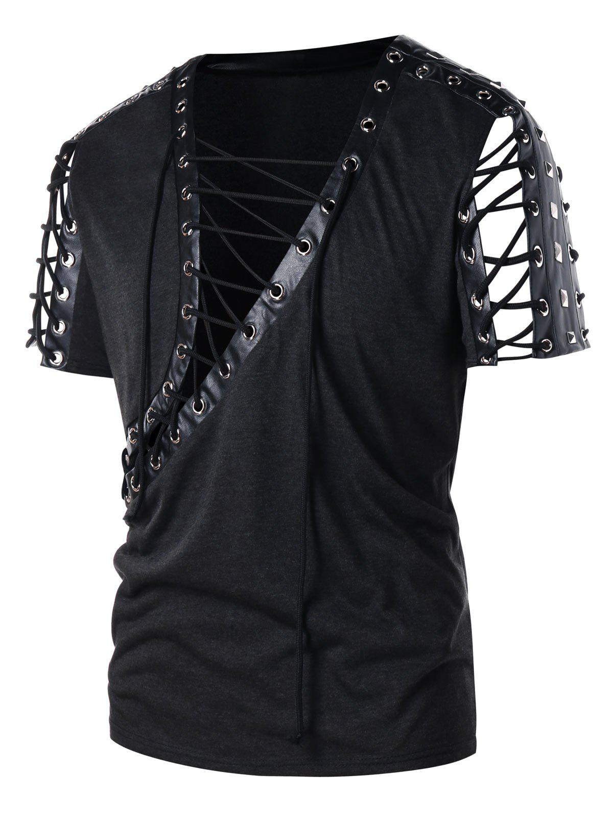 Latest Lace Up PU Leather Panel Rivet T-shirt