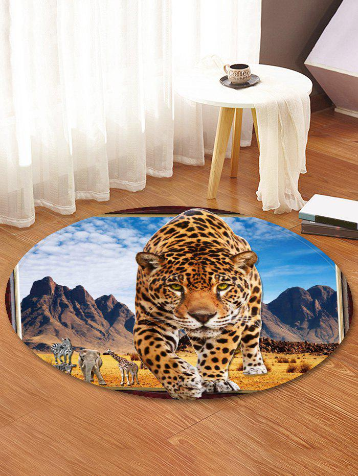 Shop Leopard Steppe Pattern Anti-skid Round Floor Rug