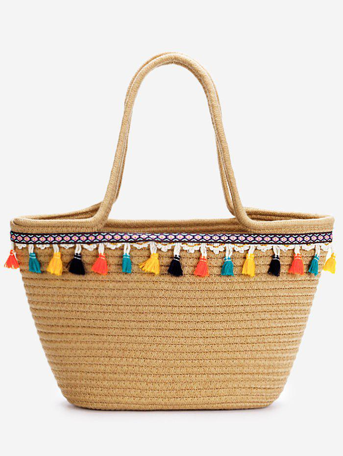 Shops Tassels Leisure Holiday Beach Bohemian Straw Tote Bag