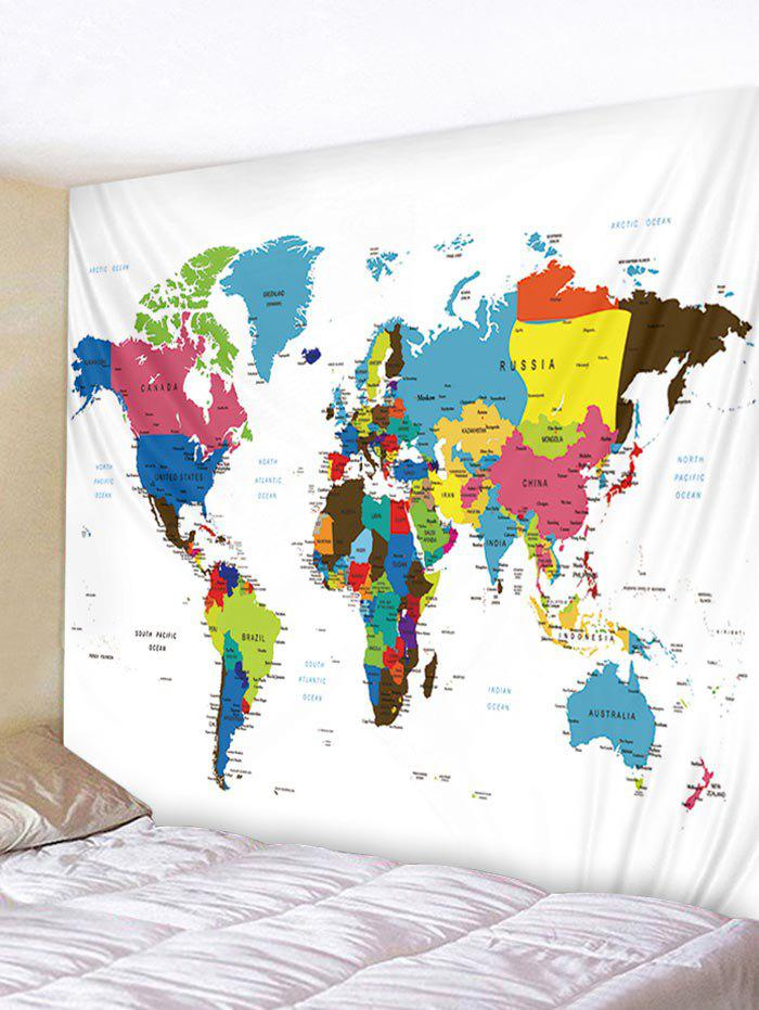 Outfit Wall Hanging Art Colorful World Map Print Tapestry