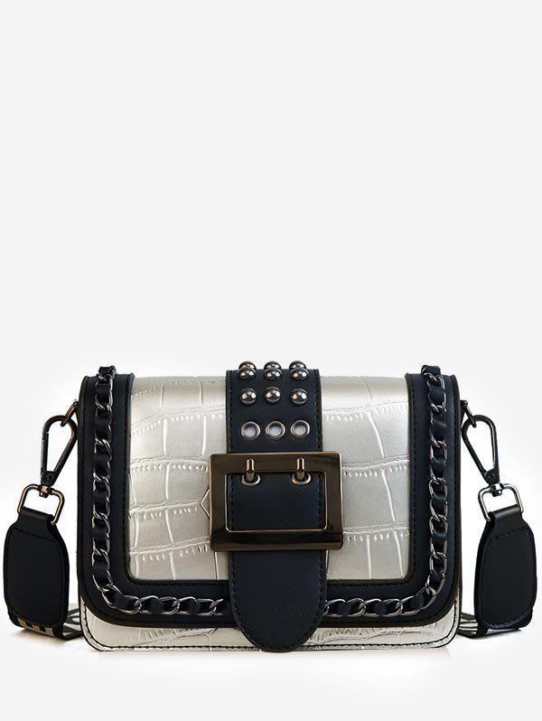 Affordable Buckled Flapped Studs Chain Color Block Crossbody Bag
