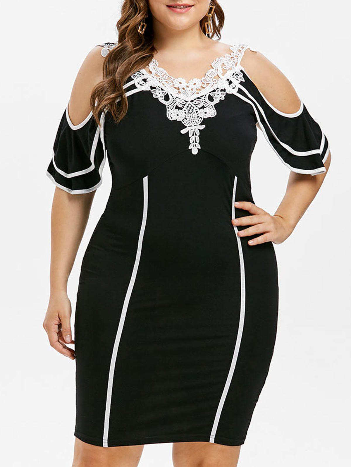 Fancy Plus Size Tiered Sleeve Double V Neck Dress