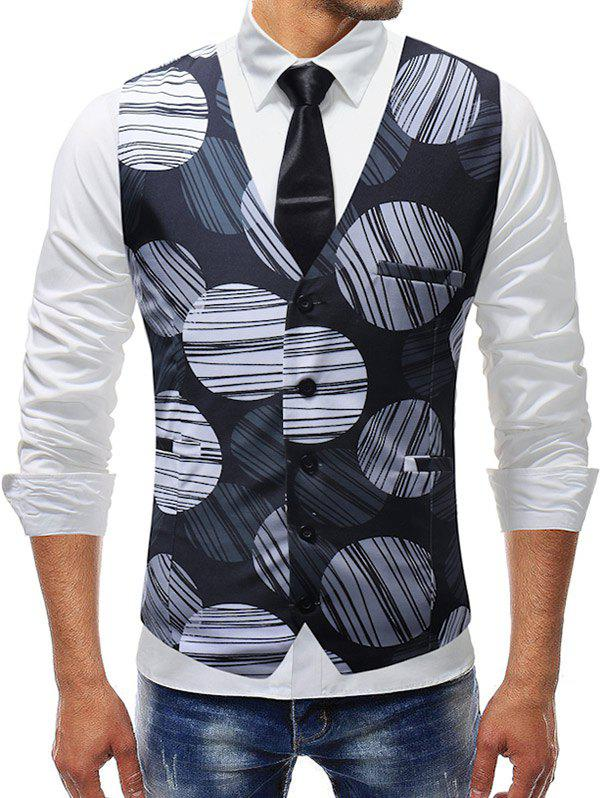 Fancy Line Circle Print Single Breasted Vest