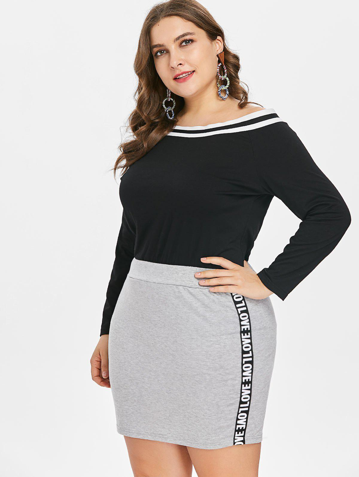 Affordable Plus Size Off Shoulder Tee and Skirt
